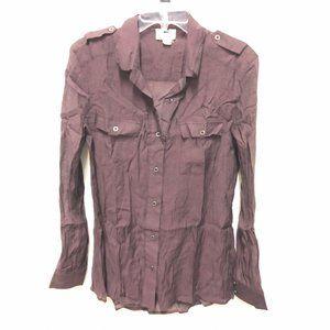 Quiksilver Maroon Sheer Shimmer Button Down Shirt
